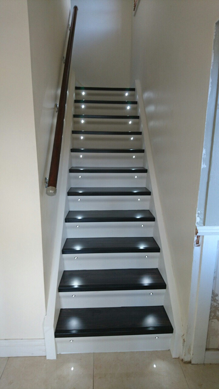Portas Staircase Renovation Maintenance Free High Pressure Laminate Treads Risers With Integrated Lighting Solid Oak Gl Accessories